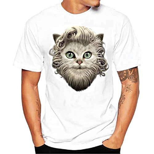 Luckycat Herren Kurzarm Rundhals Basic Drucken Oversize Slim Fit T-Shirt in vielen Farben Oversize Herren Vintage T-Shirt Verwaschen V-Neck Basic V-Ausschnitt Shirt
