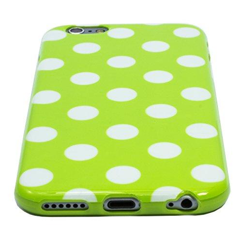 Zooky® Weiß TPU POLKA DOT Schutzhülle / Hülle / Cover für Apple iPhone 6 6S (NICHT iPhone 6 Plus) Grün