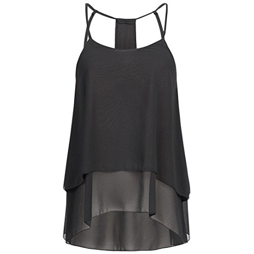FNKDOR Summer Cool Style Women Beach Swimming Sunwear Dating Casual Chiffon Round Neck T-Shirt Sleeveless Vest Tank Tops Blouse Camis