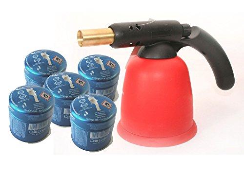 Preisvergleich Produktbild Lötlampe Lötbrenner Bunsenbrennerinkl. 5 Gaskartuschen 190g