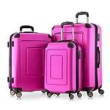 Happy Trolley - Lugano 3er Koffer-Set Hartschalen-Koffer Koffer Trolley Rollkoffer Reisekoffer Lugano, sehr leicht + stabil, TSA, (S, M & L), Pink