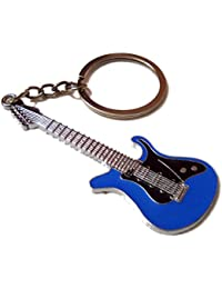 Guitar Shape Metal Keychain Stylish Key Ring Best Collectible & Gifting Item Blue
