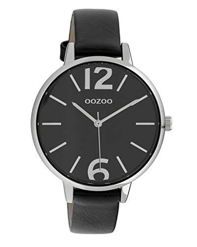 Oozoo Damenuhr mit Lederband 40 MM Silberfarben/Schwarz C10157