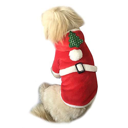 Amphia Haustier Kostüm - Haustier Hund Weihnachten Flanell Kleidung,Weihnachtsbaum Pet Dog Kleidung Santa Doggy Kostüme PET Bekleidung (Rot,S) (Flanell Santa Kostüm)