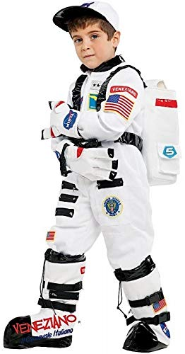 Fancy Me Italienisches Kostüm für Jungen, Motiv: Weltall, Astronaut, Karneval, Halloween, Buchtag, Woche, Kostüm, Outfit, Weiß (Italienisch Kostüm Für Jungen)