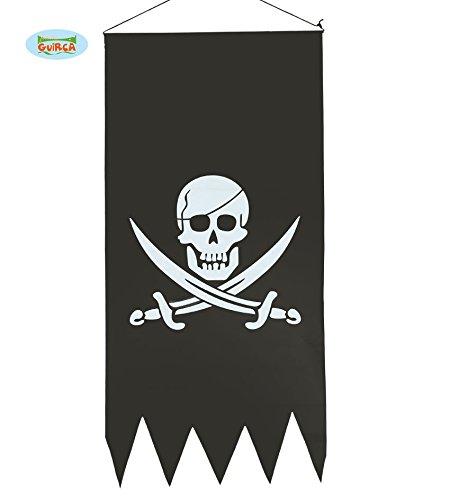 Guirca Piraten-Banner Zum Aufhängen Halloween Piraten Banner Fahne Wimpel Schwarz Totenkopf ca. 43 x 86 cm