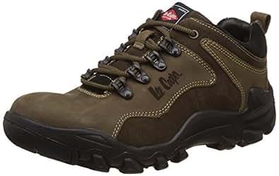 Lee Cooper Men's Olive Leather Sneakers - 7 UK