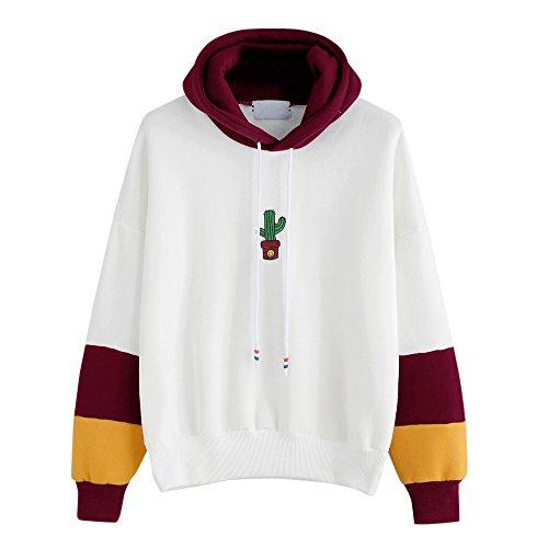 TWIFER Damen Langarm Kaktus Print Kapuzenpulli Hoodie Pullover Baumwolle Sweatshirt (S, Wein) (Abercrombie Damen Sweatshirt)