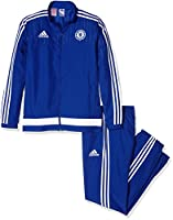 Official 2015 2016 Chelsea Kids Presentation Tracaksuit, available to buy online in junior sizes small boys, medium boys, large boys, XL boys. This tracksuit forms part of the Chelsea 2015 2016 training range and is manufactured ...