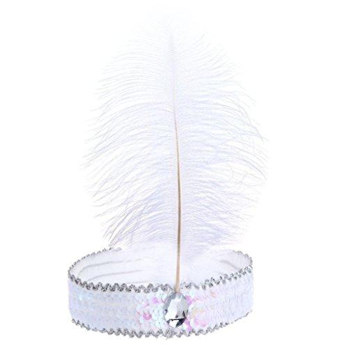 Bodya Stirnband 20's Deluxe weiß pink Flapper Pailletten Charleston Kleid Kostüm Haarband (Dance Kostüme 1930's)