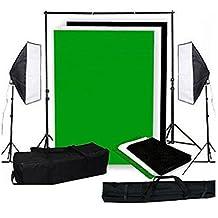 MVpower Kit iluminación continua fotografía 2X 50x70cm Softbox 2x 135W Lámparas Soporte 3pcs 3x1.6m Fondos (negro, blanco y verde) Estudio Fotográfico
