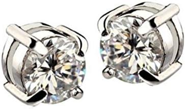 Pendientes - TOOGOO(R)1 par Pendientes de diamantes de imitacion de iman Pendientes de hombre Blanco