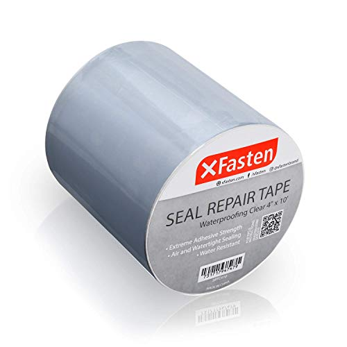 XFasten Transparentes wasserdichtes Pflaster und Dichtungsband, 10,2 cm x 3 m, Wasserabsperrband zur Reparatur von Rohre, Kamin, Dach, Boot und LKW