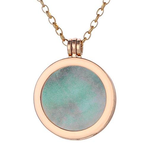 Morella collana donna 70 cm acciaio inossidabile oro con coins moneta amuleto ciondolo chakra rotondo 33 mm gemma pietra preziosa amazzonite in sacchetto di velluto