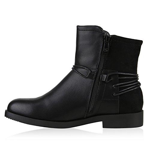 Klassische Damen Stiefeletten Gefüttert Lederoptik Winter Schuh Schwarz