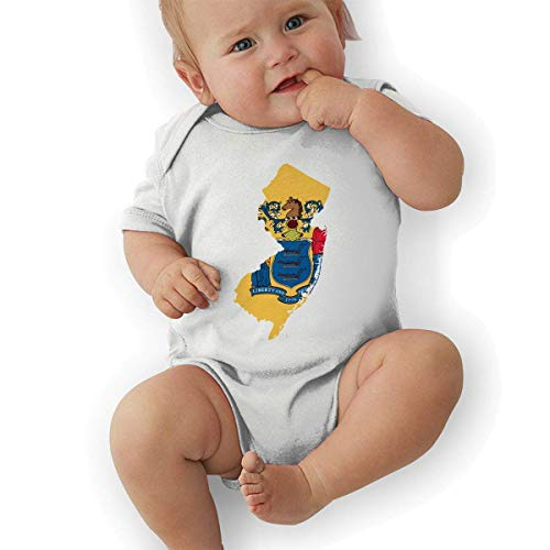 FAFANIQ New Jersey Flag Map Unisex Baby Short Sleeve Bodysuit-18M Jersey Short Sleeve Bodysuit