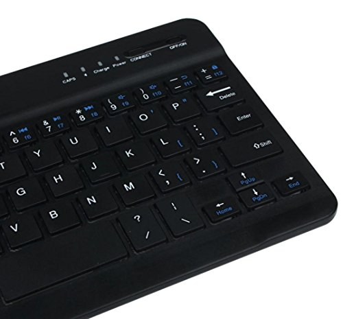 Ularma Ultra Slim Aluminum Wireless Bluetooth Tastatur Keyboard für IOS Android Windows PC (Schwarz) - 3