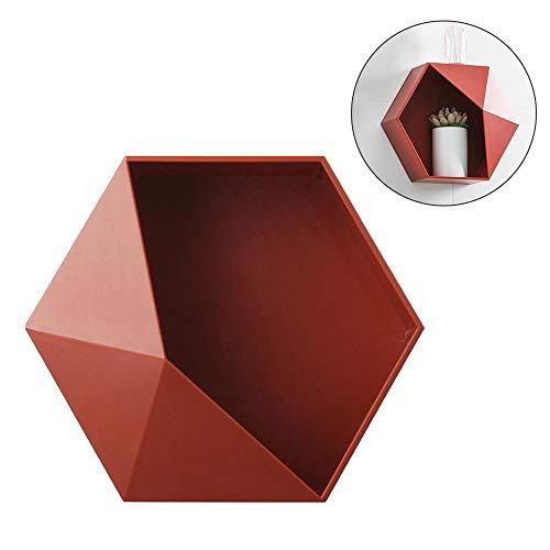 Lesgos mensola esagonale sospesa da parete, decorazione geometrica alla moda da appendere per camera da letto, bagno, soggiorno, cucina, ufficio red