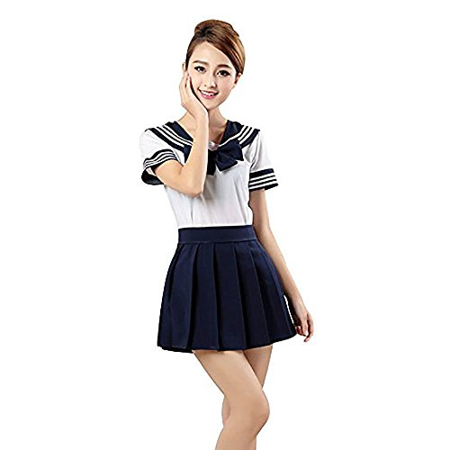 Mystery&Melody Japanische Uniform Schule Mädchen Anime Uniform Outfit Sailor Cosplay Kleider Dessous Set Halloween Sexy Kostüm (Dark Blue, XL)