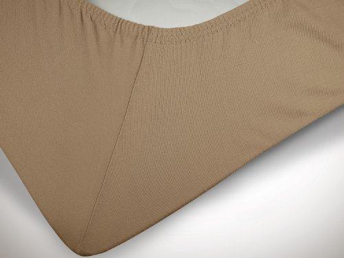 npluseins klassisches Jersey Spannbetttuch - erhältlich in 34 modernen Farben und 6 verschiedenen Größen - 100% Baumwolle, 90-100 x 200 cm, hellbraun - 6