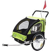 Remolque para Niños DOS PLAZAS con Amortiguadores Carro para Bicicleta CON BARRA INCLUIDA y Kit de Footing COLOR VERDE y NEGRO