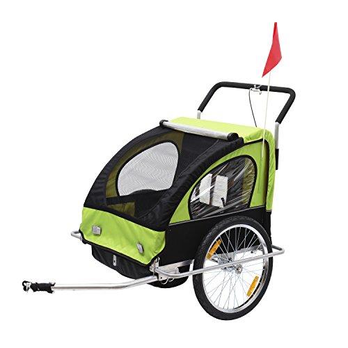 Remolque para Niños DOS PLAZAS con Amortiguadores Carro para Bicicleta...