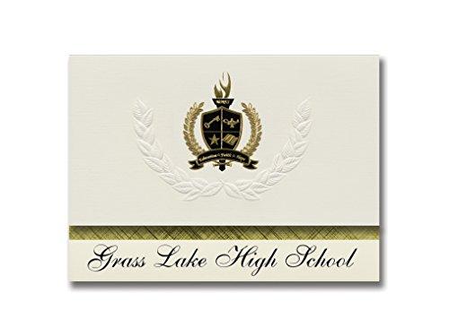 Signature-Ankündigungen Gras Lake High School (Grass Lake, MI) Abschlussankündigungen, Präsidential-Stil, Grundpaket mit 25 Stück mit goldfarbenen und schwarzen metallischen Folienversiegelung - Lake Grass