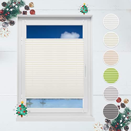 HOMEDEMO Plissee Ohne Bohren 50x130 cm Klemmfix Rollo für Fenster Sichtschutz und Sonnenschutz Jalousie Beige