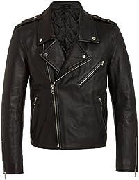Cazadoras Biker de Cuero para Hombres, Chaquetas Negras de Piel Genuina de Calidad Excepcional S M L XL XXL