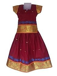Pkd Girls Ethnicwear Pattupavada BRICK RED