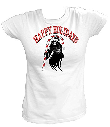 Artdiktat Damen T-Shirt - HAPPY HOLIDAYS REAPER WITH CANDY CANE Größe XXL, weiß Coupe Candy