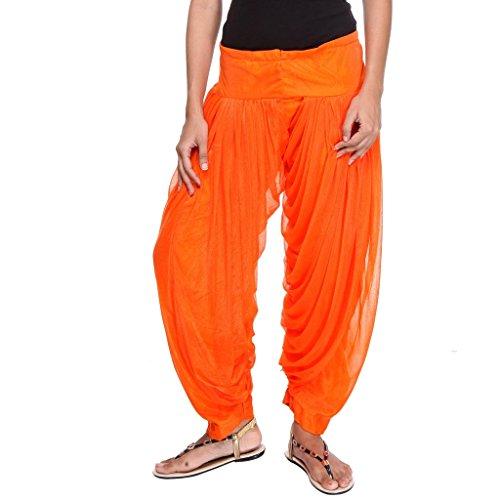Teemoods Womens Solid Orange Fancy Patiala Salwar