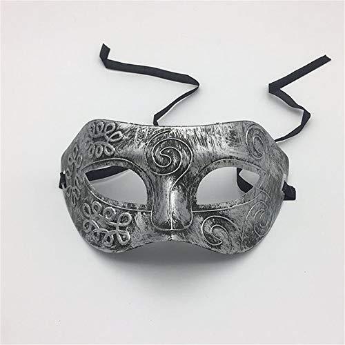 NUOKAI Halloween Bronze Maske römischen Männer Half Face Flat Head geschnitzt Maske Prom Party Schutzbrillen