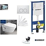 Geberit Duofix Vorwandelement, V&B Omnia Combi-Pack Architectura, DirectFlush WC Spülrandlos Komplettset + Deckel Softclose, Ceramicplus Drückerplatte weiss