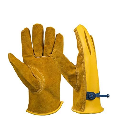 Funytine Multifunktionale Leder-PU-Handschuhe für Gartenversicherungsbedarf Barbecue-Ölschutz-Schutzhandschuh (Color : Brown, Size : M)