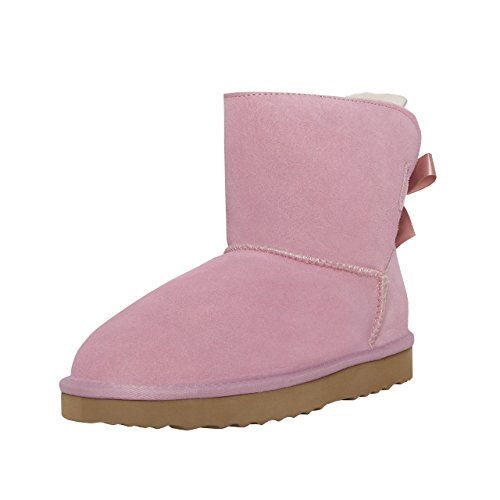 SKUTARI Damen Playful Single Bow Boots - Wildleder, Rosa, Gefüttert, Farbton:Pink;Groesse:37 (Snake Leather Stiefel)