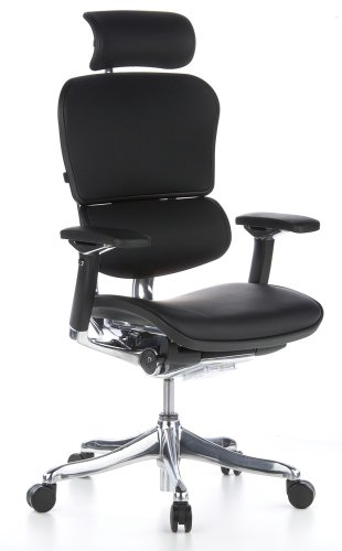 hjh OFFICE 652205 Bürostuhl Chefsessel ERGOHUMAN PLUS Leder schwarz, viele individuelle Einstellmöglichkeiten inkl. Sitzneigefunktion, Bürodrehstuhl ergonomisch, Drehstuhl, Schreibtischstuhl - Human Leder