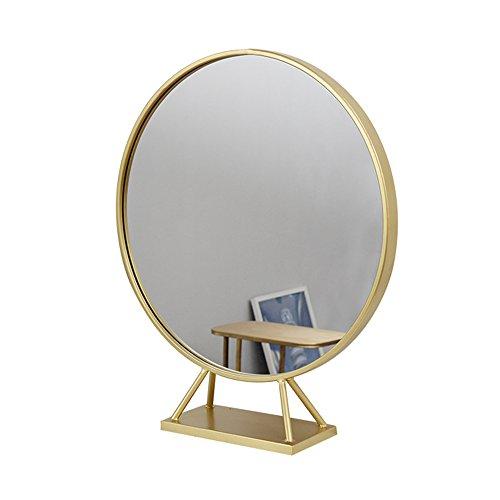 Nordischer Schminkspiegeltisch mit unterer runder Spiegel Schlafzimmerspiegel Badezimmerverfassungsspiegel Gold HD Badezimmerspiegel/2 Größe wahlweise freigestellt (größe : 60*80cm)