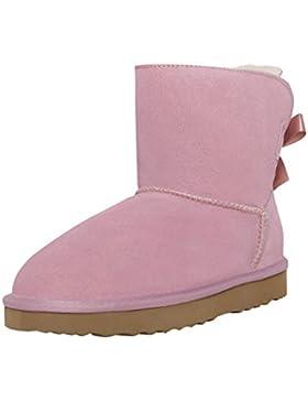 SKUTARI Wildleder Damen Frauen Winter Boots   Warm Gefüttert   Schlupf-Stiefel mit Stabiler Sohle   Schleife Pailletten...