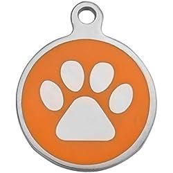 BY Personnalisé Médaille pour Chat Chien Identification en Acier Inoxydable Pendentif Round Gravure Gratuit en Deux Faces 25mm