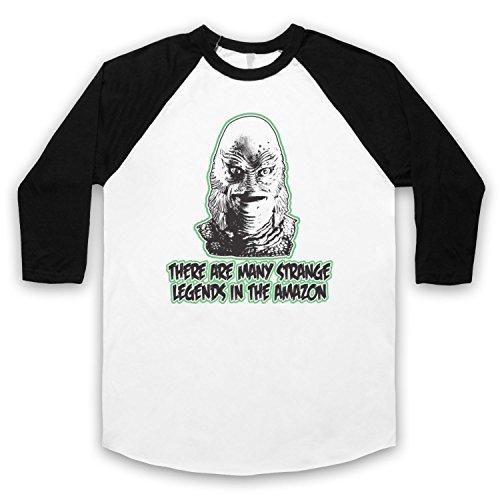 Inspiriert durch Creature From The Black Lagoon Strange Legends Inoffiziell 3/4 Hulse Retro Baseball T-Shirt Weis & Schwarz