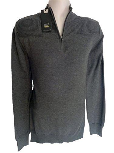 Brave Soul Herren Pullover Zip Neck anthrazit Sweatshirt Winter, Größe: S (Knit Funnel Neck Top)