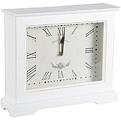 Tischuhr YAAT Kaminuhr Uhr Holz Standuhr Shabby Chic Vintage Deko Dekoration (Weiß)