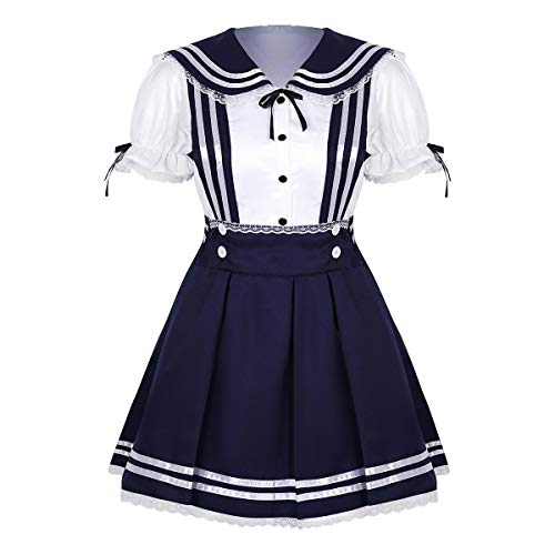 Rock School Kostüm Of - Freebily 2 Stücke Damen Mädchen Schulmädchen Kostüm Cosplay Outfit Kleid High School Sailor Uniform Puffärmel Shirt Hosenträger Rock Faltenrock Marineblau&Weiß Small