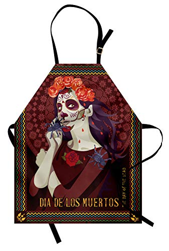 ABAKUHAUS Tag der Toten Kochschürze, Dia de Los Muertos Print Frau mit Calavera Make-up Spanisch Rose Artwork, Farbfest Höhenverstellbar Waschbar Klarer Digitaldruck, ()