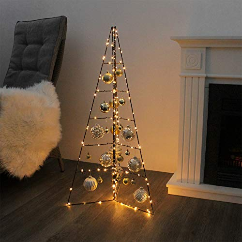 Weihnachtsdekoration Aufsteller Weihnachtsbaum Dekobaum, 5 Ebenen, Metall, Höhe 100cm, Tannenbaum