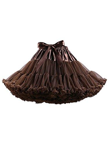 Choies Damen Dirndl Unterrock 50er Petticoat Wedding Elegant Vintage Mini Elastisch Bund Partyröcke Kaffeebraun ONESIZE