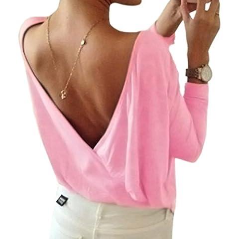 Minetom Sommer Damen Tops Oberteil Bluse Party Pullover Frühjahr Rundhals Langarm Bluse Rückenfrei Loose T Shirt Rosa DE 42