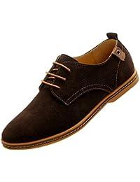 Gleader NUEVOS zapatos de gamuza de cuero de estilo europeo oxfords de los hombres casuales Marron(tamano 48)