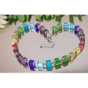 Exclusive GLAS Würfelkette MULTICOLOR/DESIGN Würfel Collier Bunt /1003